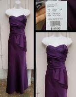 NEW $149 women 10 DAVID'S BRIDAL purple maxi long strapless bridesmaid dress