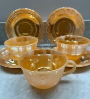 Fire King Anchor Hocking Peach Luster Glassware  Cups and 4 Saucers