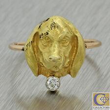 1880s Antique Victorian 18k Solid Yellow Gold Diamond Basset Hound Dog Ring