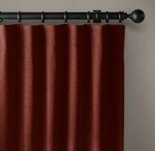 "RH Belgian Heavyweight Textured Linen Drapery, Rod-Pocket, Cayenne, 120"" x 50"""