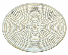 Round Glass Candle Holder Plate Gold 10Cm