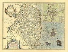 Leinster DUBLIN 17c map Full Size Printed  Replica Old  John Speed c.1610.