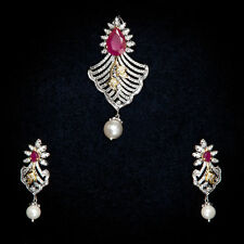 Pave 31.28 Cts Natural Diamonds Ruby Pearl Pendant Earrings Set In Fine 14K Gold