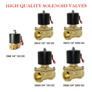 AC 220V DC 12V Electric Solenoid Valve Air Water Fuel Gas Normal Closed NC
