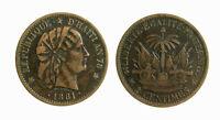 s283_74)  Haiti 2 Centimes KM# 43 1881