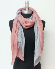 Crinkle two-tone inspired shadow stripe Silk Blend Elegant Scarf Dusty Rose Gray