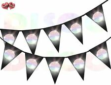 Disco Ball on Black Background I Love 70's 80's Theme Bunting Banner 15 flags