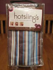 New HotSlings Pouch Style Baby Carrier ~ Quinn Size 1 ~ Brown Blue Cream Stripes