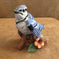 """Blue Jay vintage Lefton bird on tree branch 4"""" high porcelain figurine label"""