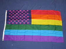 3X5 PINK TRIANGLE USA RAINBOW FLAG GAY LESBIAN NEW F766