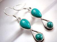 Blue Turquoise Earrings 925 Sterling Silver Dangle Teardrop Double Gemstone New