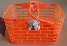 Orange Small Plastic Basket with Mini White Bear holding a Purple and Orange Egg