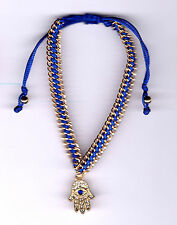 Blue Cord, Gold Plated Chain & Crystal Hamsa & Evil Eye Friendship Bracelet