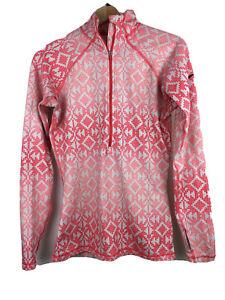 NIKE Pro Womens Size M Orange Geometric Long Sleeve 1/4 Zip Athletic Stretch Top