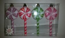 Set of 4 Christmas Holiday Ornaments Candy Lollipop Peppermint Sweet Treats