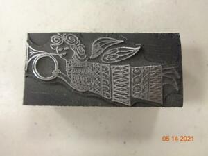 Printing Letterpress Printer Block Decorative Angel w Trumpet Print Cut