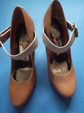 M&S Limited Collection Ankle strap Shoes Beige with Blue heels size 6