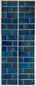 """Original Antique Victorian Fireplace Tile Set 10 Tiles 6""""x6"""" Blue Brick Simpson"""