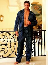 Navy Stripe Long Sleeve Pajamas Button Up Shirt Drawstring Pants S 80002