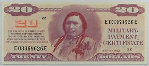 $20 Series 692  Military Payment Certificate MPC ...AU DETAILS ... CHIEF