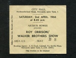 1966 Roy Orbison Walker Bros Concert Ticket Stub Newcastle UK Oh, Pretty Woman