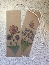 SEArts Set Of 2 Hand Drawn Floral Heavy Kraft Chipboard Bookmarks