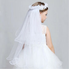 Girls Charm Ribbon Floral Rose Hair Wreath Garland Wedding Hairband Flowers PF