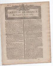 1785 RARE GAZETTE de FRANCE DITE RENAUDOT N° 2 A VOIR