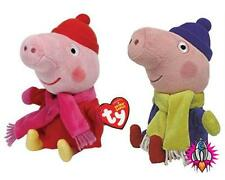 PEPPA PIG & GEORGE TY WINTER CHRISTMAS BEANIE BABIES TWIN PACK PLUSH SOFT TOYS