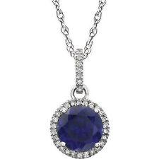 Diamante & Zafiro Azul Piedra de nacimiento Collar en 14k ORO BLANCO (1/10 ct.