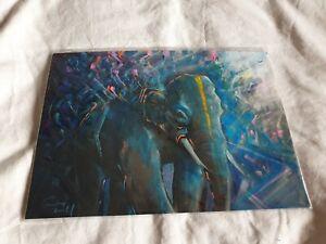 GREY Elephant art signed print from comic con A4 archival Matt paper unframed