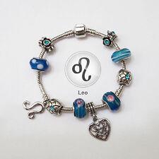 Stylish Leo Zodiac Silver Blue Murano Teal Rhinestone Heart Charm Bracelet