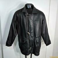 J. PARK Soft Leather Duffle Coat JACKET Mens Size L Black zippered insulated