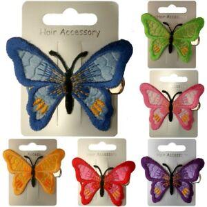 Pince à cheveux papillon brodé bleu vert rose violet rouge ou jaune 65mm x 45mm