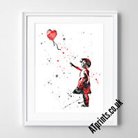BANKSY BALLOON GIRL Print Poster Watercolour Framed Canvas Wall Art House