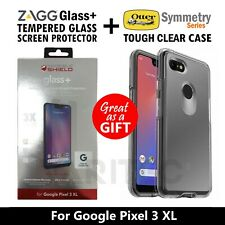 Zagg Glass Screen Protector + Otterbox Clear Case Cover For Google Pixel 3 XL