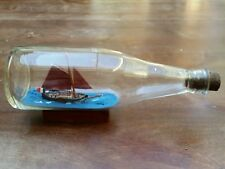 VINTAGE SHIP IN A BOTTLE - SAILING  FISHING BOAT CLIPPER - FRENCH FLAG
