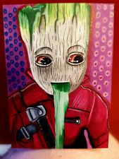 ORIGINAL ACEO Card. Baby groot throwing up
