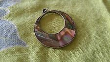 Vintage necklace Pendant only marked Alpaca Mexico Abalone Shell MOP Circle