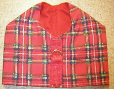 Red Plaid Denim Dog Harness Vest Italian Greyhound Chinese Crested Min Pin