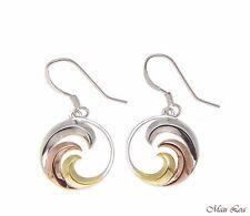 925 Sterling Silver Tricolor Hawaiian 15mm Ocean Wave Wire Hook Dangle Earrings