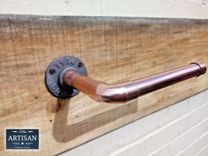 Copper Pipe Toilet Roll Holder - Rustic / Industrial / Vintage - 22mm Thick Pipe