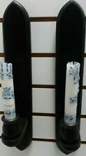 """Vintage Farmhouse Set of 2 Distressed Black Candle Wall Hung Sconces 14.5"""" Tall"""