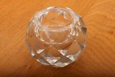 Vintage Clear Faceted Glass Paperweight Candle Holder Votive