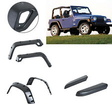 "6PC 97-06 Jeep Wrangler TJ 6"" Extended Fender Flares Kit Pocket Rivet Black ABS"