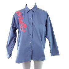 LOUISE OROP blouse haut chemise M/L 38 40 bleu fleurs broderie NP 99 NEUF