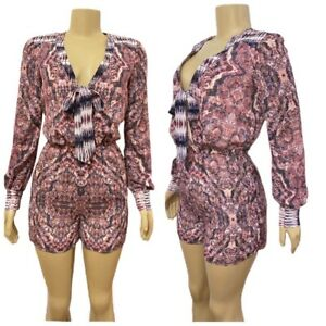 bebe Fable Mixed Print Tie Neck Long Sleeve Short Romper XSmall