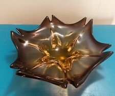 Murano Art Glass Blue and Amethyst 6 Point Bowl or Candy Dish