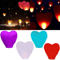 Beauty 5pcs Sky Flying Paper Wishing Lanterns Lucky Light Wedding Party  BIN