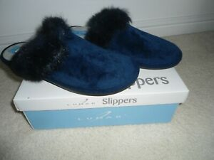 Ladies Navy Blue Slippers by Lunar size 5